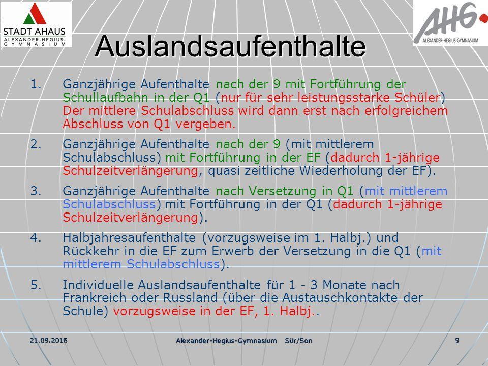 21.09.2016 Alexander-Hegius-Gymnasium Sür/Son 9 Auslandsaufenthalte 1.