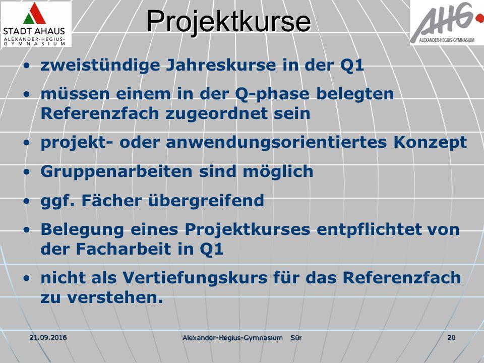 21.09.2016 Alexander-Hegius-Gymnasium Sür 20Projektkurse zweistündige Jahreskurse in der Q1 müssen einem in der Q-phase belegten Referenzfach zugeordnet sein projekt- oder anwendungsorientiertes Konzept Gruppenarbeiten sind möglich ggf.