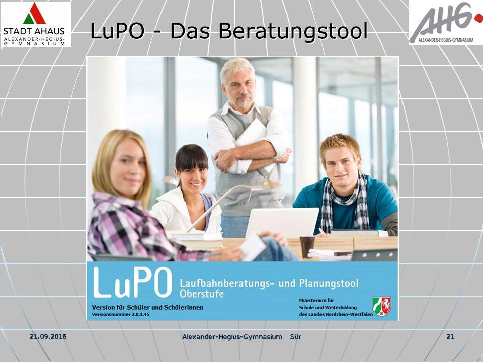 21.09.2016 Alexander-Hegius-Gymnasium Sür 21 LuPO - Das Beratungstool