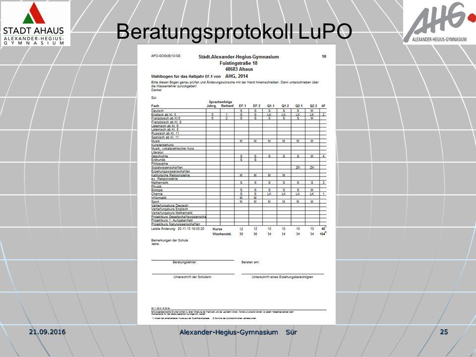 21.09.2016 Alexander-Hegius-Gymnasium Sür 25 Beratungsprotokoll LuPO