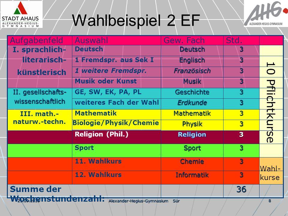 21.09.2016 Alexander-Hegius-Gymnasium Sür 8 Wahlbeispiel 2 EF 36 3 3 3 3 3 3 3 3 3 3 3 3 Std.Informatik12.