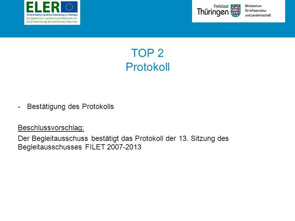 Rubrik TOP 2 Protokoll -Bestätigung des Protokolls Beschlussvorschlag: Der Begleitausschuss bestätigt das Protokoll der 13.