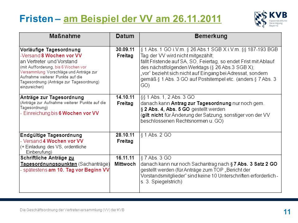 Die Geschäftsordnung der Vertreterversammlung (VV) der KVB 11 Fristen – am Beispiel der VV am 26.11.2011 MaßnahmeDatumBemerkung Vorläufige Tagesordnun
