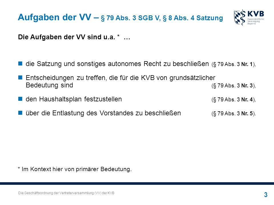 Die Geschäftsordnung der Vertreterversammlung (VV) der KVB 3 Aufgaben der VV – § 79 Abs.