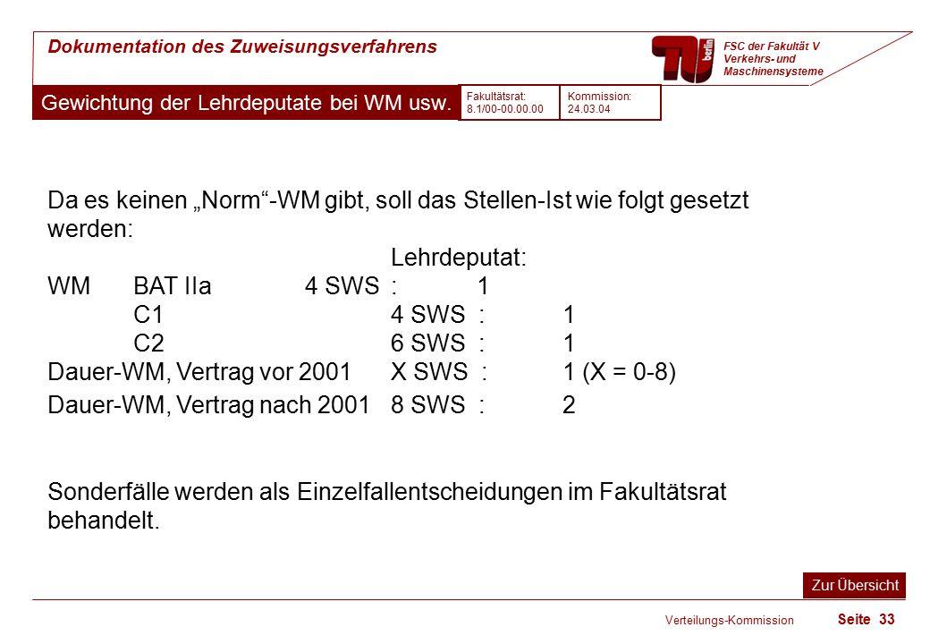 Verteilungs-Kommission Seite 33 Dokumentation des Zuweisungsverfahrens FSC der Fakultät V Verkehrs- und Maschinensysteme Gewichtung der Lehrdeputate bei WM usw.