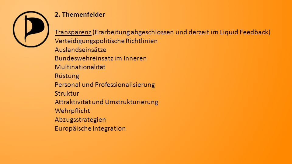 2. Themenfelder Transparenz (Erarbeitung abgeschlossen und derzeit im Liquid Feedback) Verteidigungspolitische Richtlinien Auslandseinsätze Bundeswehr