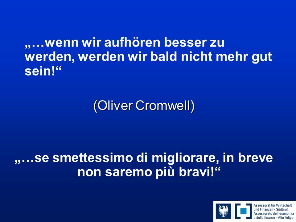 """""""…wenn wir aufhören besser zu werden, werden wir bald nicht mehr gut sein!"""" (Oliver Cromwell) """"…se smettessimo di migliorare, in breve non saremo più"""