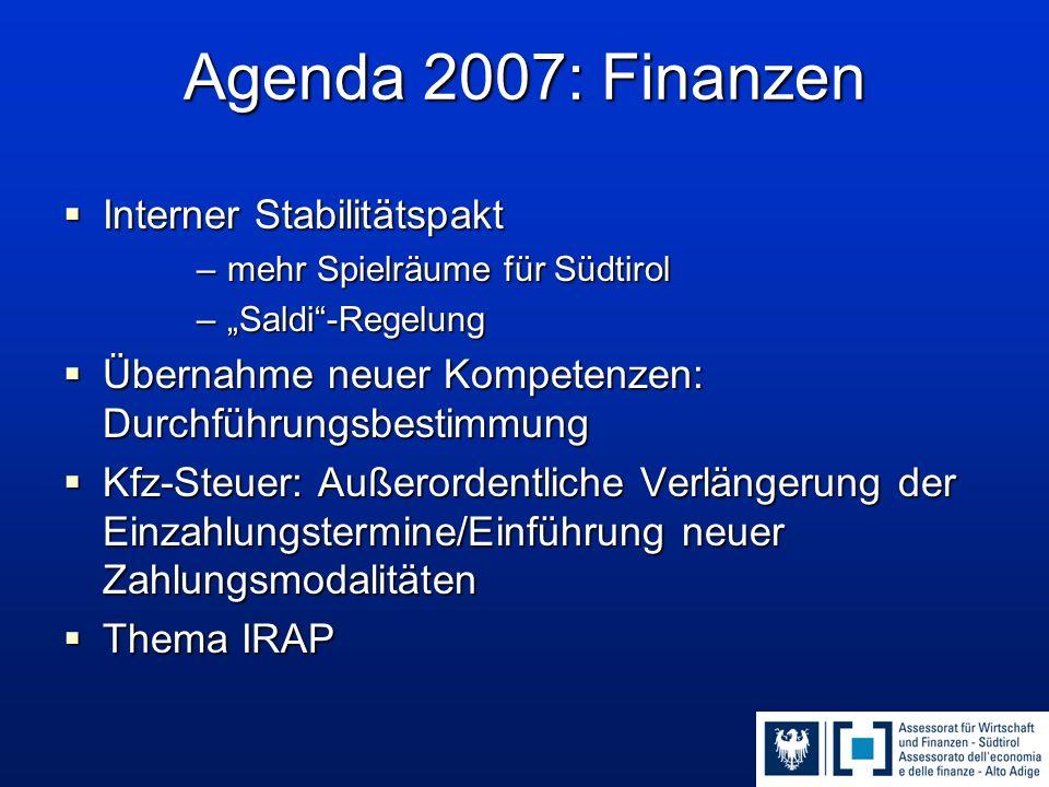 """Agenda 2007: Finanzen  Interner Stabilitätspakt –mehr Spielräume für Südtirol –""""Saldi""""-Regelung  Übernahme neuer Kompetenzen: Durchführungsbestimmun"""