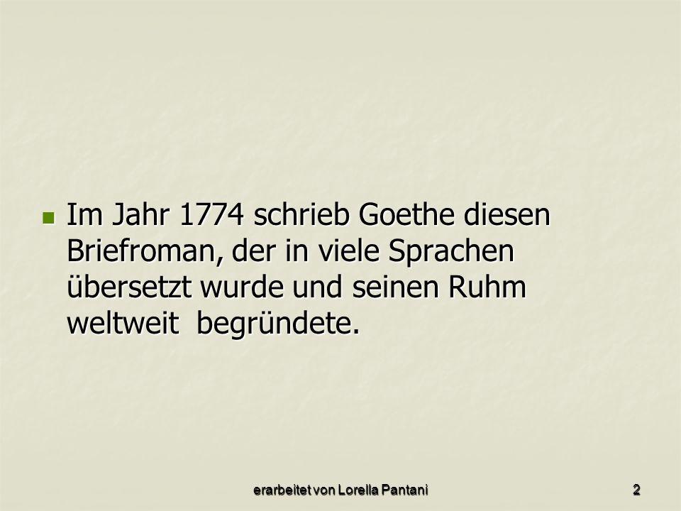 Im Jahr 1774 schrieb Goethe diesen Briefroman, der in viele Sprachen übersetzt wurde und seinen Ruhm weltweit begründete.