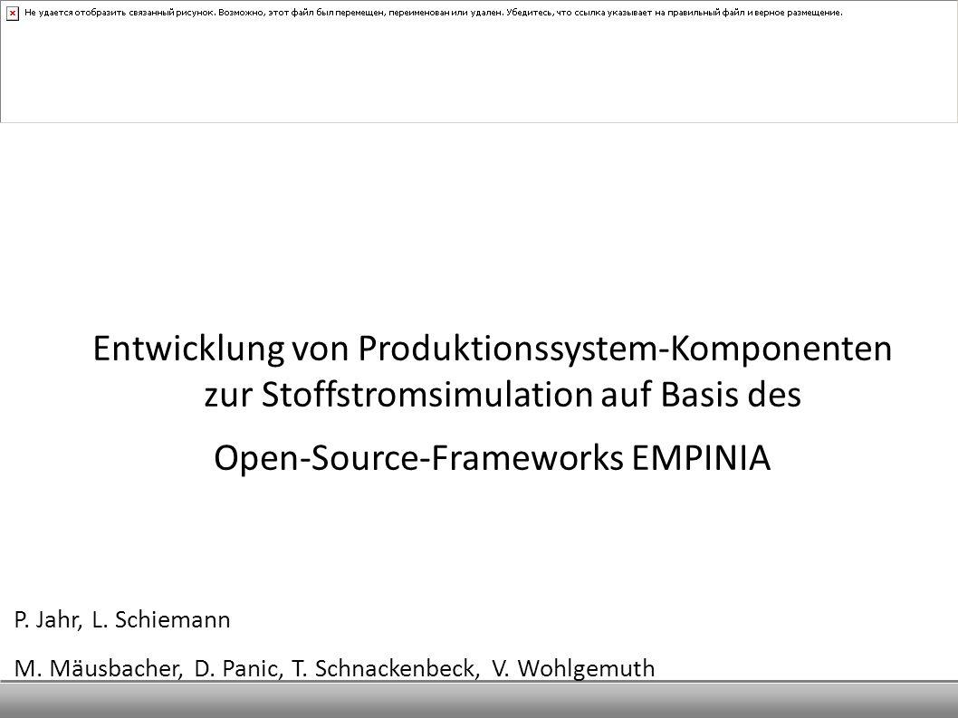 Entwicklung von Produktionssystem-Komponenten zur Stoffstromsimulation auf Basis des Open-Source-Frameworks EMPINIA P. Jahr, L. Schiemann M. Mäusbache