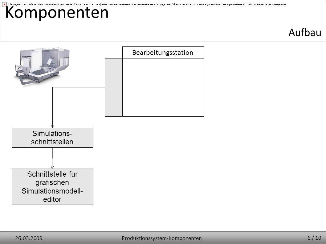 Produktionssystem-Komponenten26.03.2009 Komponenten Simulations- schnittstellen Schnittstelle für grafischen Simulationsmodell- editor Bearbeitungsstation 6 / 10 Bearbeitungsstation Aufbau