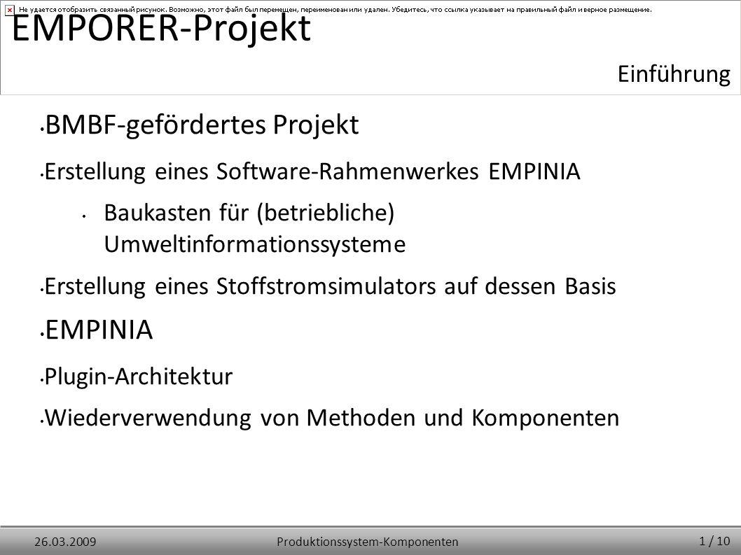 Produktionssystem-Komponenten26.03.2009 EMPORER-Projekt BMBF-gefördertes Projekt Erstellung eines Software-Rahmenwerkes EMPINIA Baukasten für (betrieb