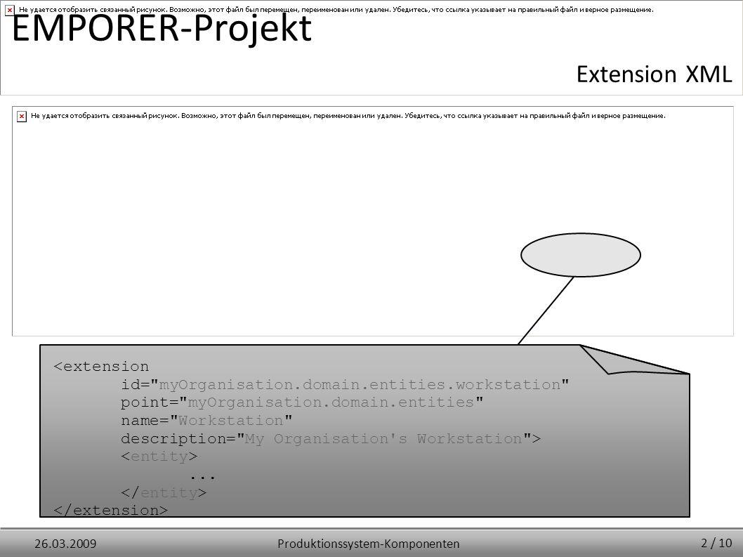 Produktionssystem-Komponenten26.03.2009 EMPORER-Projekt Extension XML <extension id= myOrganisation.domain.entities.workstation point= myOrganisation.domain.entities name= Workstation description= My Organisation s Workstation >...