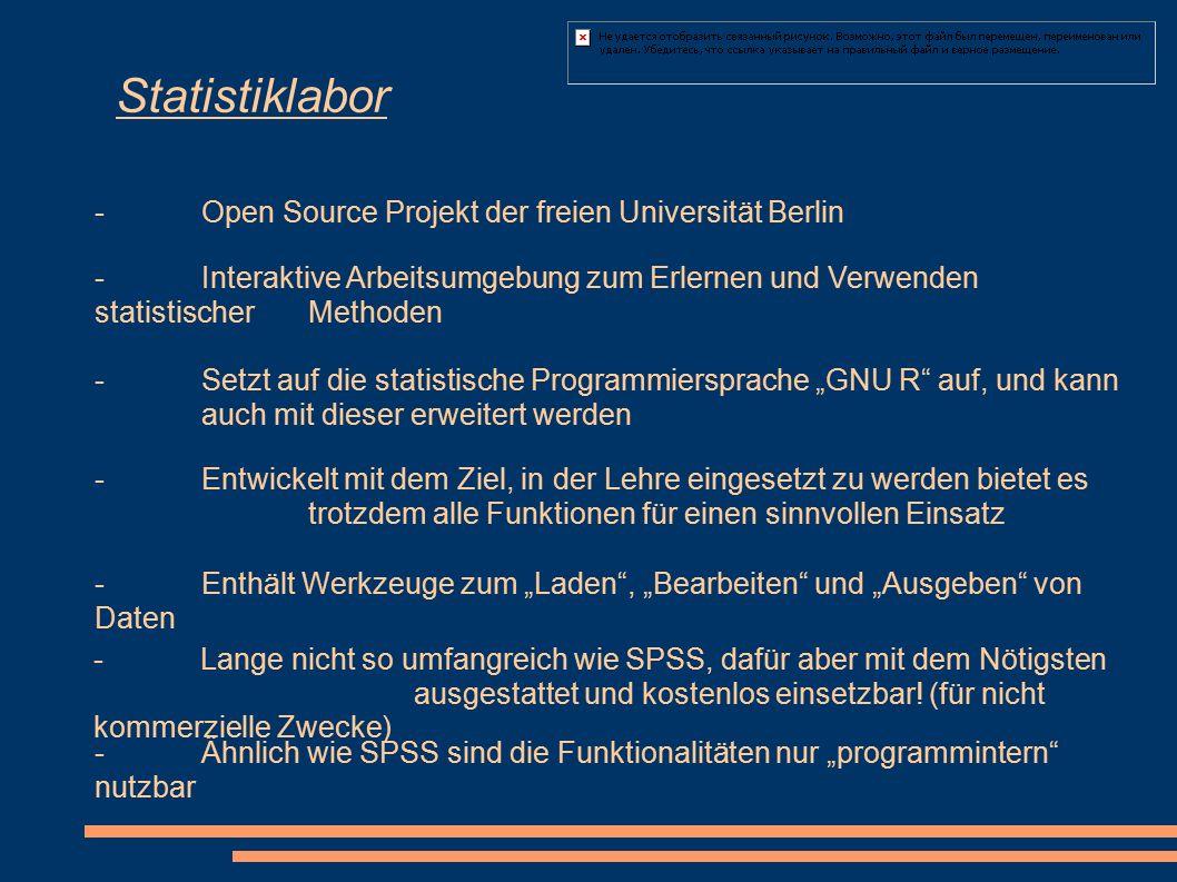 Statistiklabor -Open Source Projekt der freien Universität Berlin - Interaktive Arbeitsumgebung zum Erlernen und Verwenden statistischer Methoden -Set