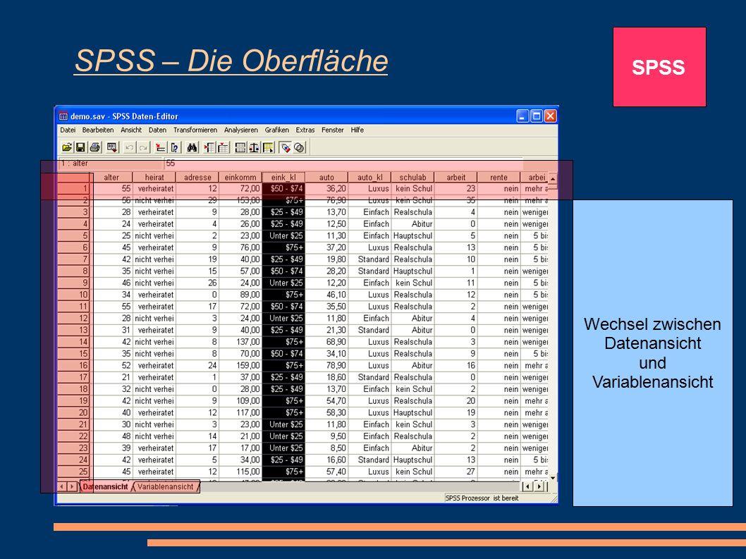 SPSS – Die Oberfläche SPSS Spalte für Variablen: In Umfragen stehen die einzelnen Variablen für die jeweiligen Fragen Zeilen, wobei jede Zeile einer b