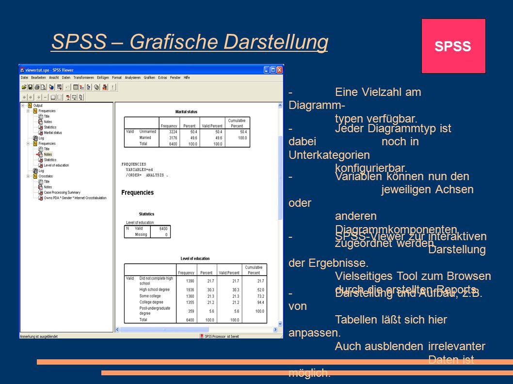 SPSS – Grafische Darstellung SPSS -Eine Vielzahl am Diagramm- typen verfügbar. -Jeder Diagrammtyp ist dabei noch in Unterkategorien konfigurierbar. -V