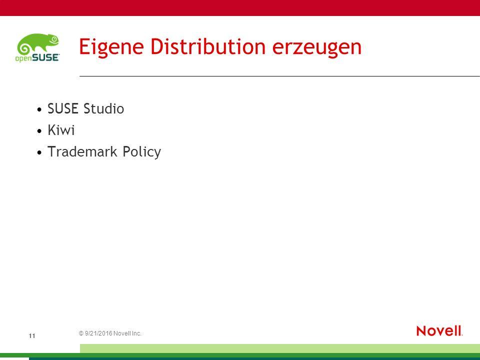 © 21.09.2016 Novell Inc. 1 Eigene Distribution erzeugen SUSE Studio Kiwi Trademark Policy
