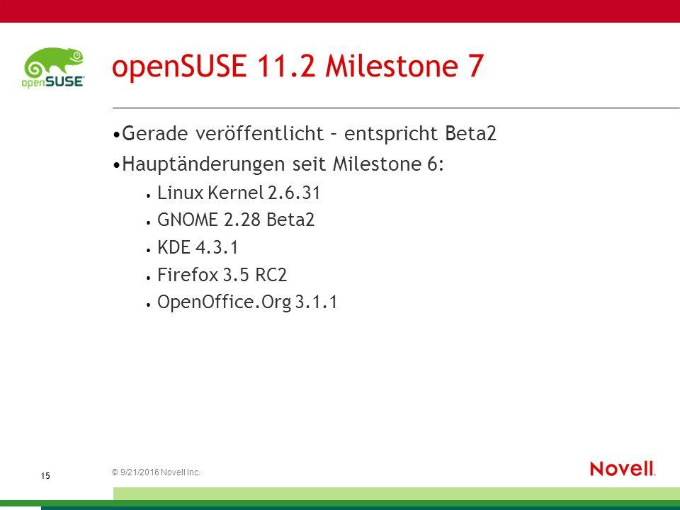 © 21.09.2016 Novell Inc. 1515 openSUSE 11.2 Milestone 7 Gerade veröffentlicht – entspricht Beta2 Hauptänderungen seit Milestone 6: Linux Kernel 2.6.31