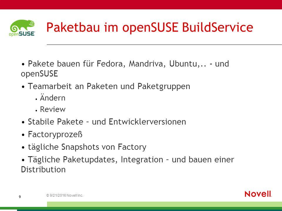 © 21.09.2016 Novell Inc. 9 Paketbau im openSUSE BuildService Pakete bauen für Fedora, Mandriva, Ubuntu,.. - und openSUSE Teamarbeit an Paketen und Pak