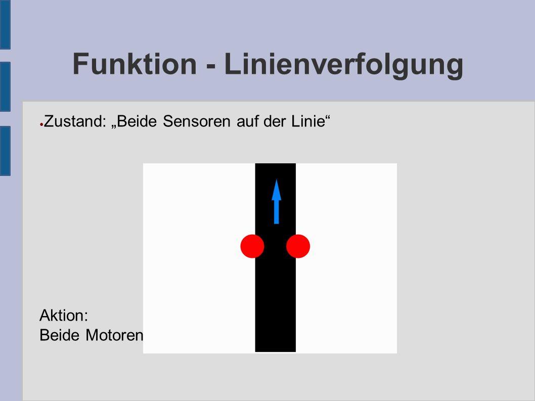 """Funktion - Linienverfolgung ● Zustand: """"Beide Sensoren auf der Linie Aktion: Beide Motoren gleichmäßig ansteuern"""