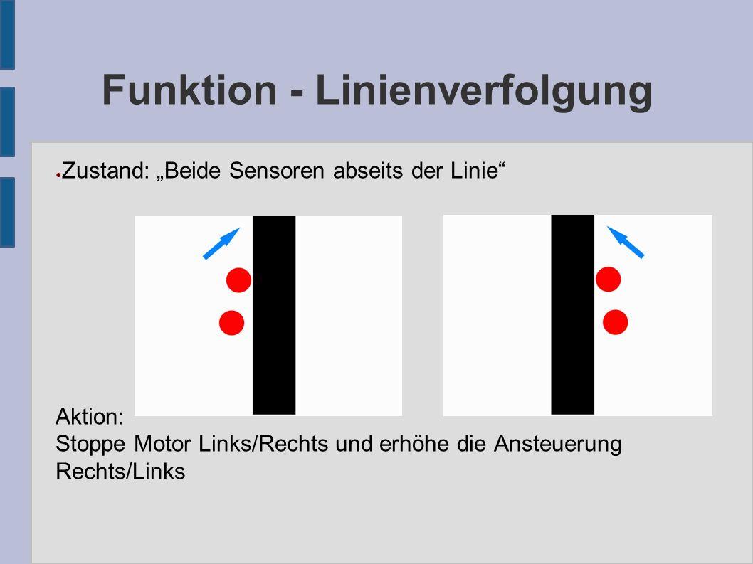 """Funktion - Linienverfolgung ● Zustand: """"Beide Sensoren abseits der Linie Aktion: Stoppe Motor Links/Rechts und erhöhe die Ansteuerung Rechts/Links"""