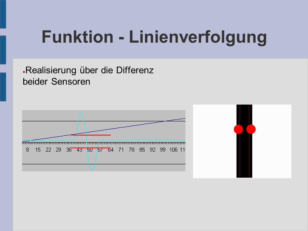 Funktion - Linienverfolgung ● Realisierung über die Differenz beider Sensoren