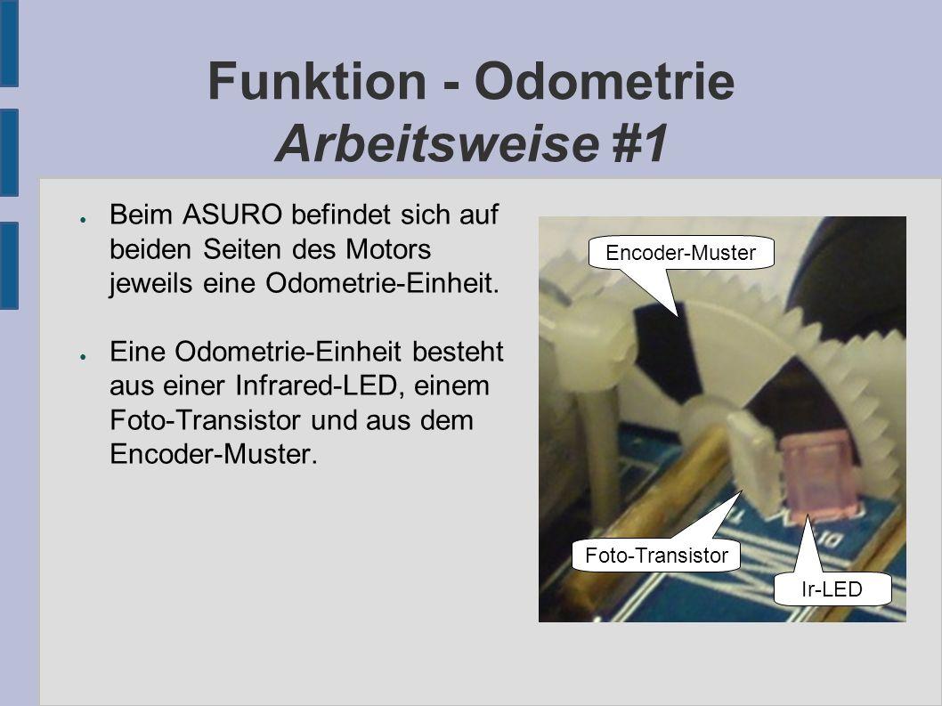Funktion - Odometrie Arbeitsweise #1 ● Beim ASURO befindet sich auf beiden Seiten des Motors jeweils eine Odometrie-Einheit.