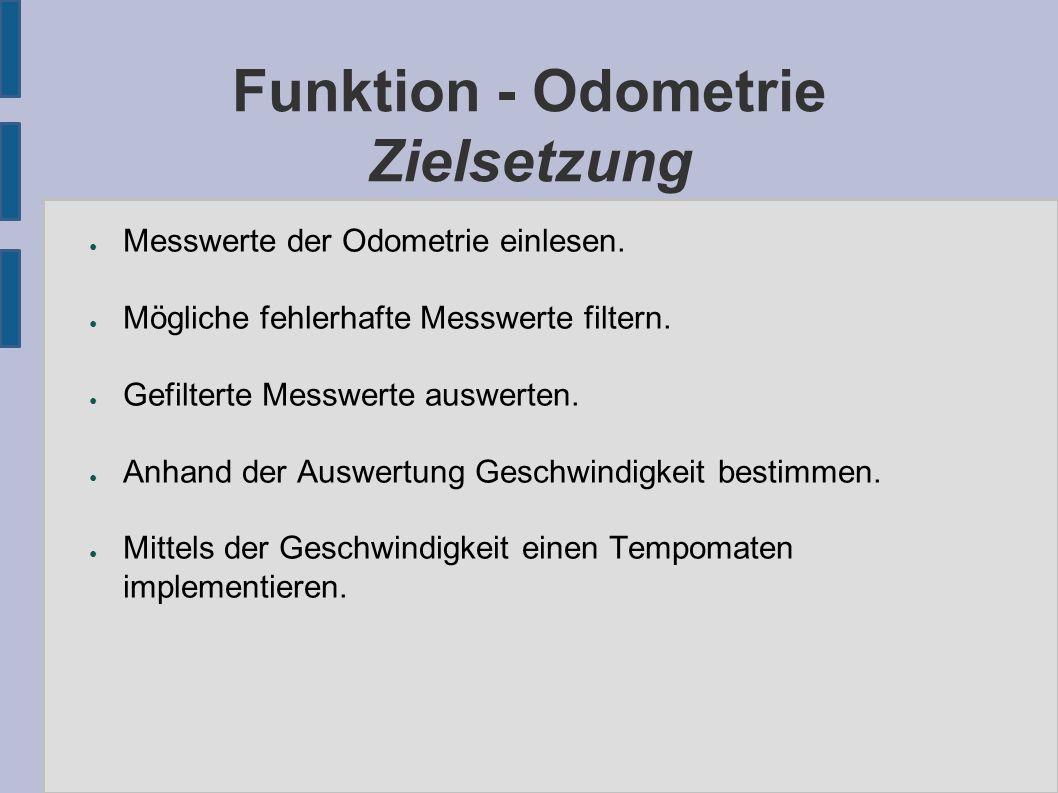 Funktion - Odometrie Zielsetzung ● Messwerte der Odometrie einlesen.