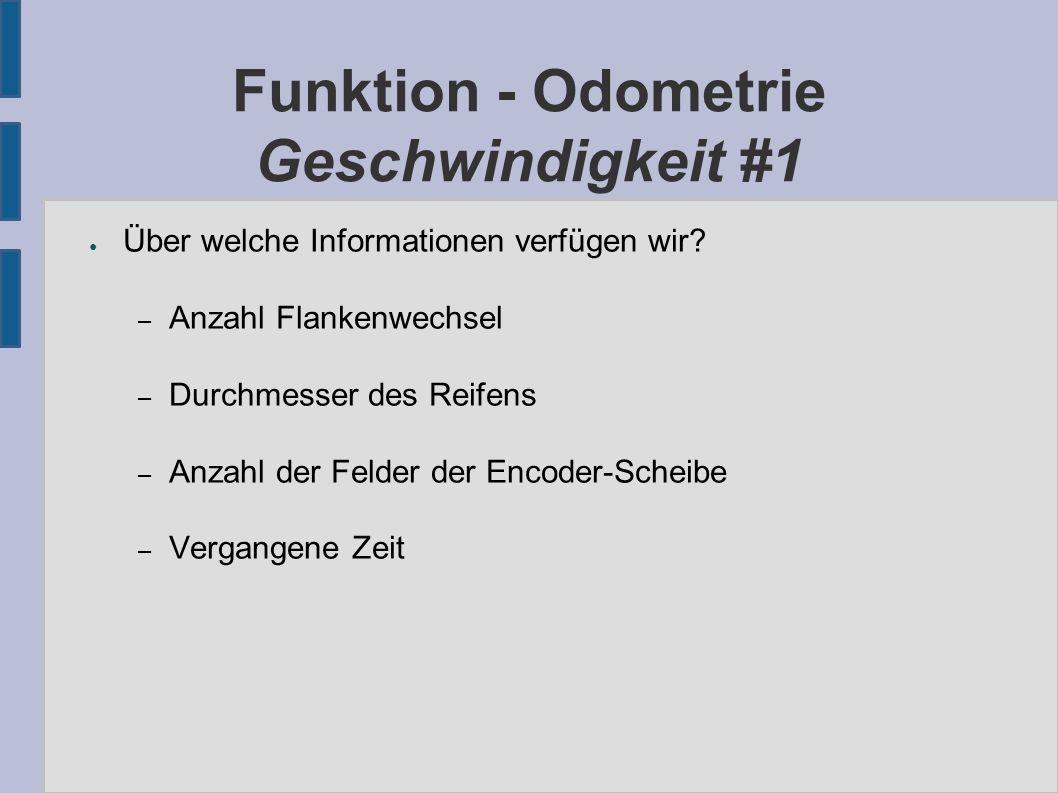 Funktion - Odometrie Geschwindigkeit #1 ● Über welche Informationen verfügen wir.