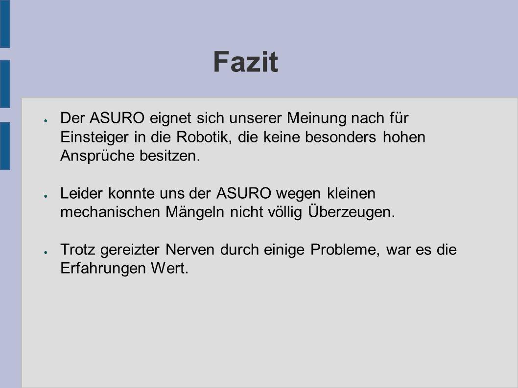 Fazit ● Der ASURO eignet sich unserer Meinung nach für Einsteiger in die Robotik, die keine besonders hohen Ansprüche besitzen.