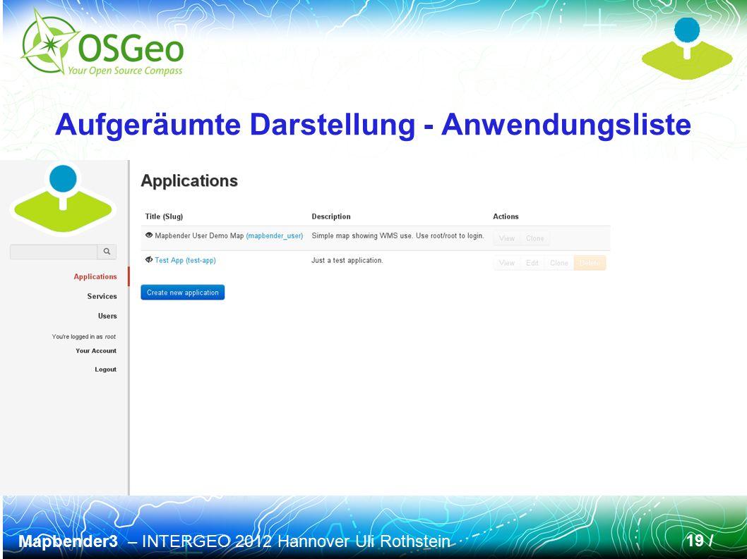 Mapbender3 – INTERGEO 2012 Hannover Uli Rothstein 19 / Aufgeräumte Darstellung - Anwendungsliste