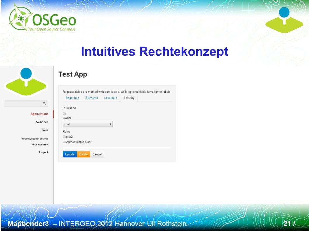 Mapbender3 – INTERGEO 2012 Hannover Uli Rothstein 21 / Intuitives Rechtekonzept