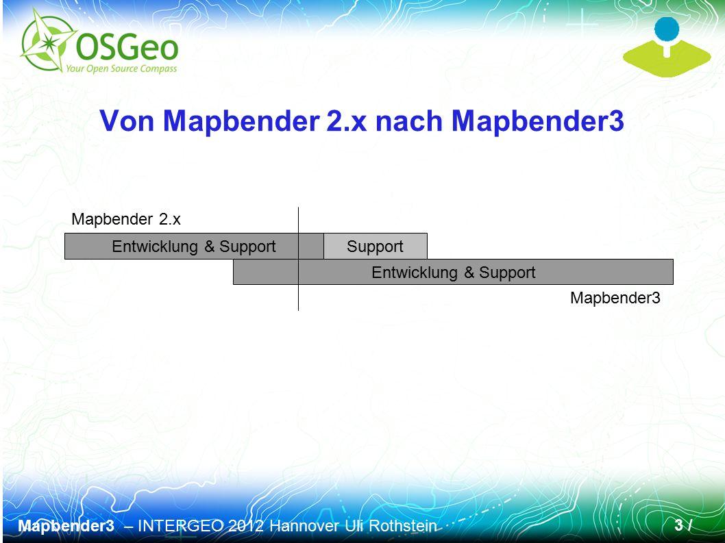 Mapbender3 – INTERGEO 2012 Hannover Uli Rothstein 14 / Mapbender3 Kollektion aus Symfony Bundles CoreBundle (obligatorisch) FOMBundles – FOM Friends of Mapbender (obligatorisch) Extension Bundles (optional) WMSBundle WMTSBundle WMCBundle Weitere in Planung