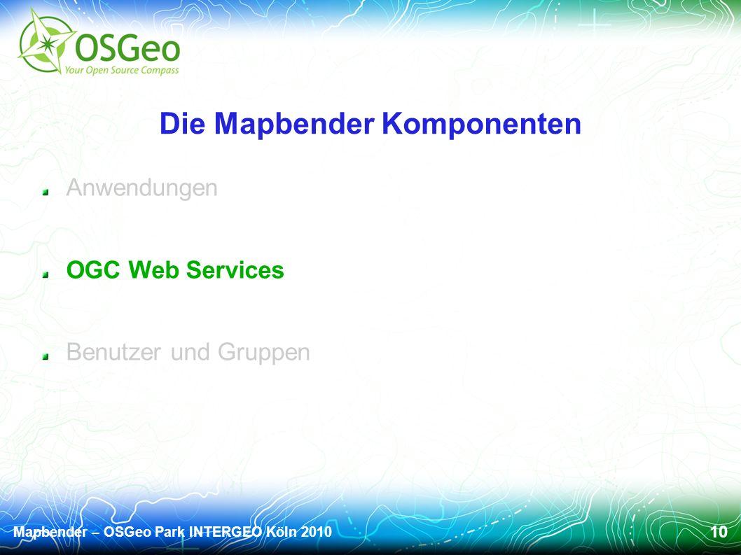 Mapbender – OSGeo Park INTERGEO Köln 2010 10 Die Mapbender Komponenten Anwendungen OGC Web Services Benutzer und Gruppen
