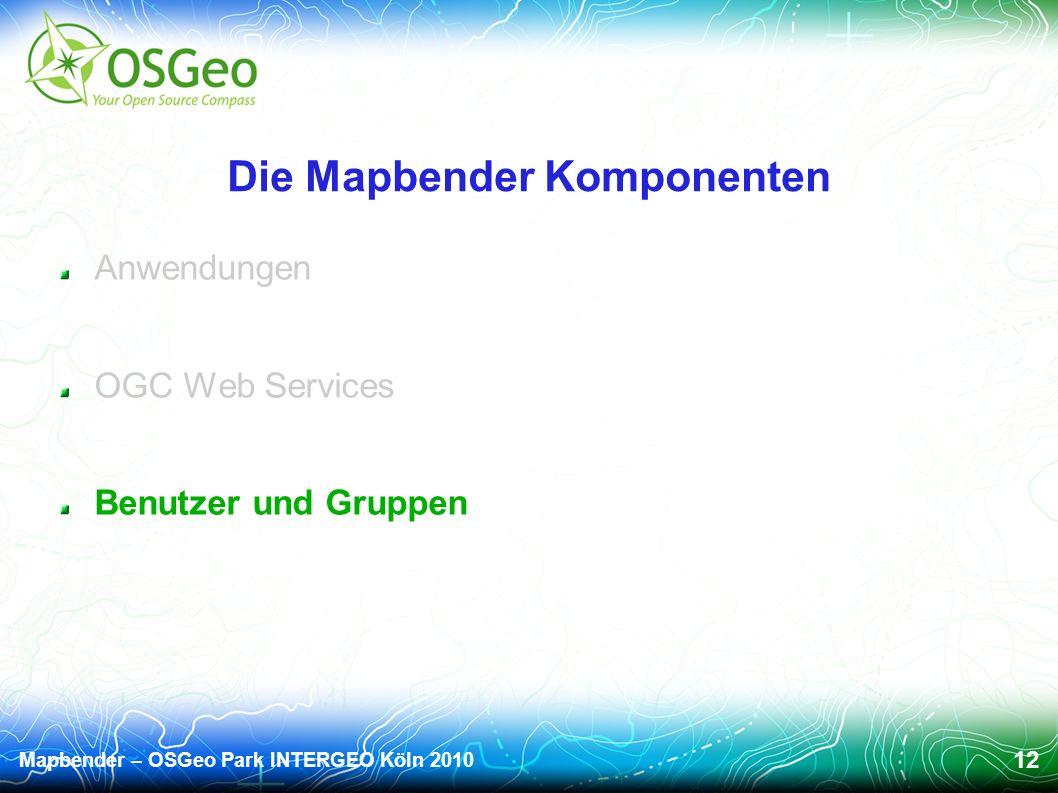Mapbender – OSGeo Park INTERGEO Köln 2010 12 Die Mapbender Komponenten Anwendungen OGC Web Services Benutzer und Gruppen