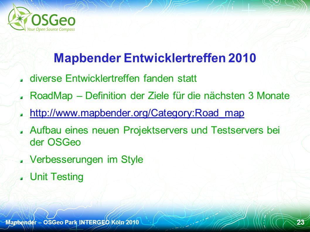 Mapbender – OSGeo Park INTERGEO Köln 2010 23 Mapbender Entwicklertreffen 2010 diverse Entwicklertreffen fanden statt RoadMap – Definition der Ziele für die nächsten 3 Monate http://www.mapbender.org/Category:Road_map Aufbau eines neuen Projektservers und Testservers bei der OSGeo Verbesserungen im Style Unit Testing