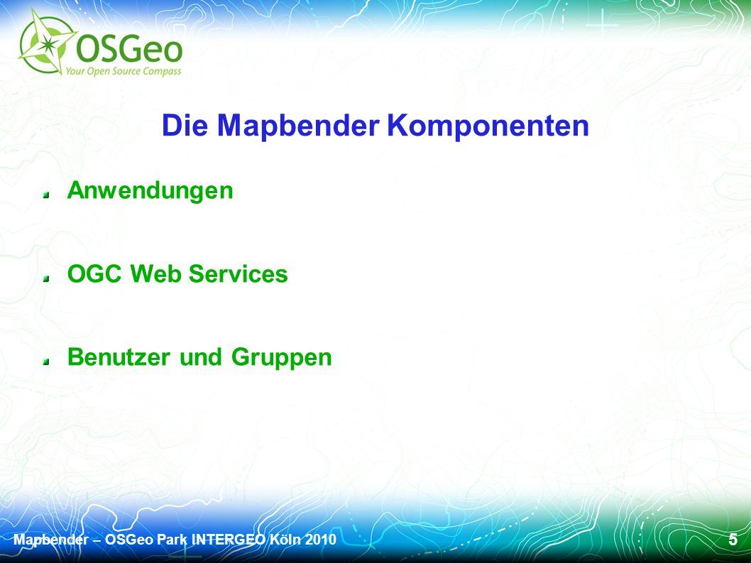 Mapbender – OSGeo Park INTERGEO Köln 2010 5 Die Mapbender Komponenten Anwendungen OGC Web Services Benutzer und Gruppen