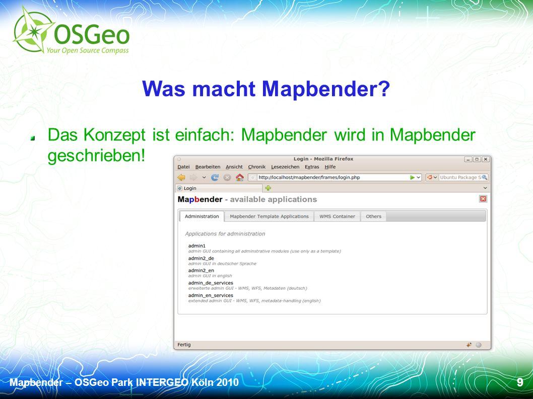 Mapbender – OSGeo Park INTERGEO Köln 2010 9 Was macht Mapbender.
