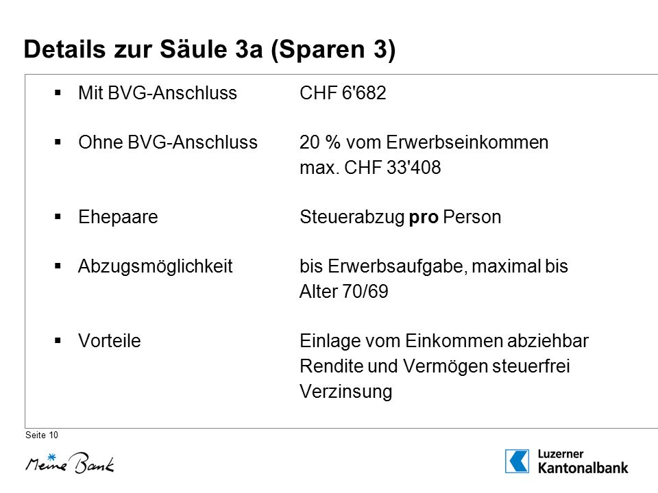 Details zur Säule 3a (Sparen 3)  Mit BVG-AnschlussCHF 6 682  Ohne BVG-Anschluss20 % vom Erwerbseinkommen max.