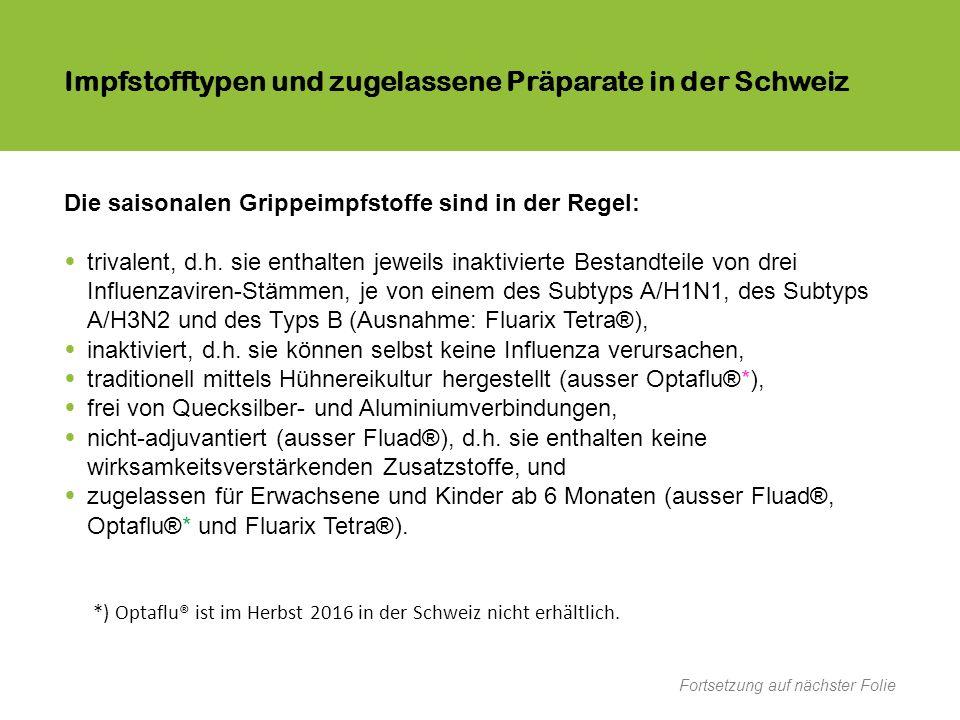 Impfstofftypen und zugelassene Präparate in der Schweiz Die saisonalen Grippeimpfstoffe sind in der Regel: trivalent, d.h.