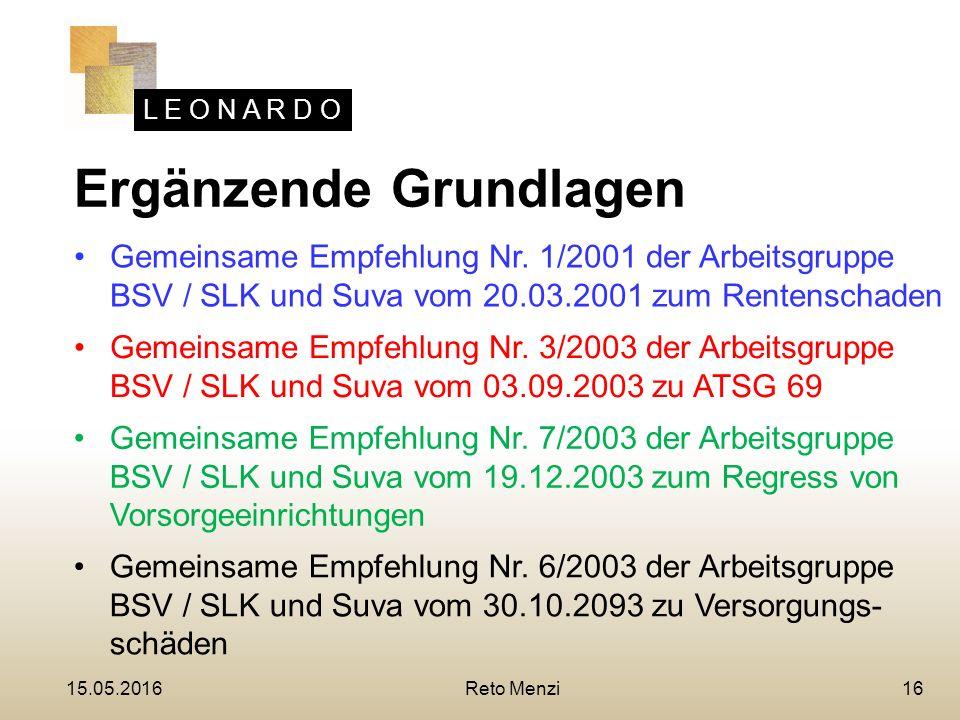 L E O N A R D O 16 Ergänzende Grundlagen Gemeinsame Empfehlung Nr.