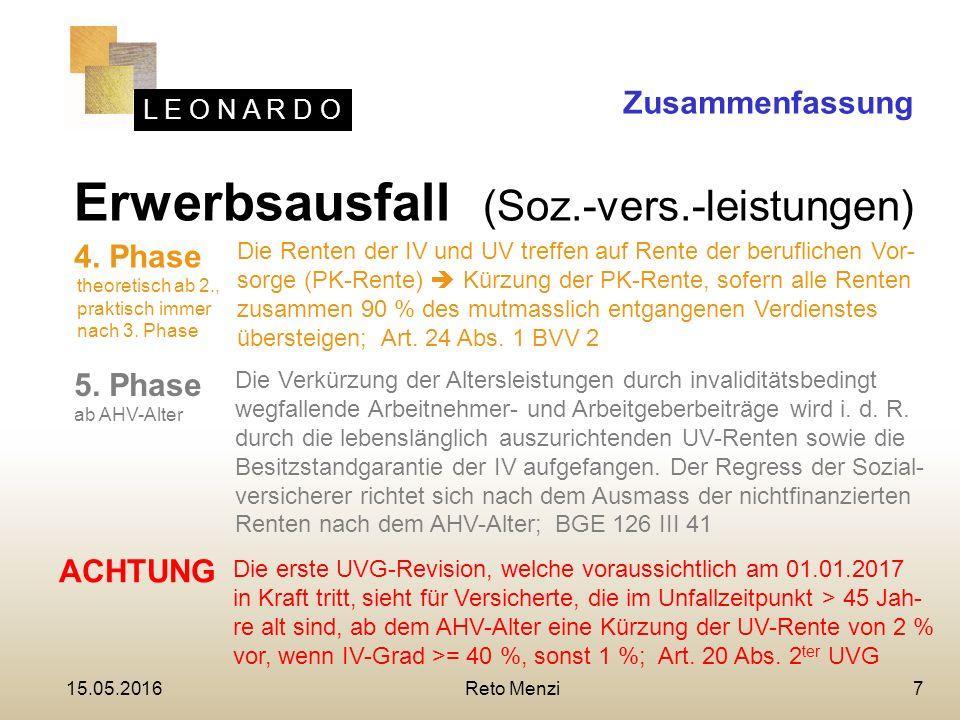 L E O N A R D O 7 Erwerbsausfall (Soz.-vers.-leistungen) Zusammenfassung 4.