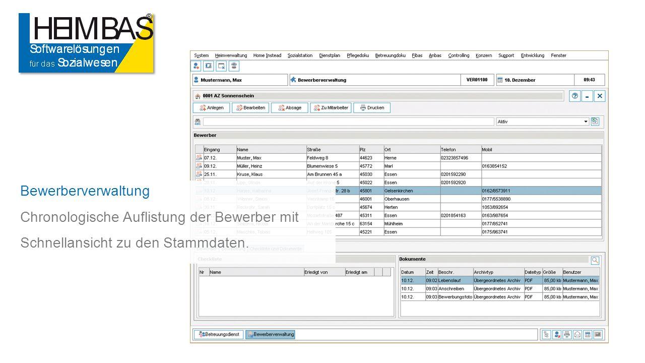 Bewerberverwaltung Chronologische Auflistung der Bewerber mit Schnellansicht zu den Stammdaten.