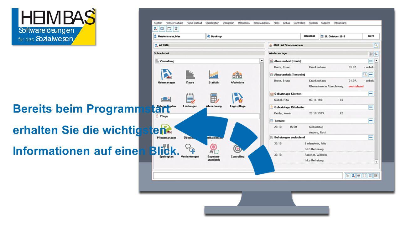 Bereits beim Programmstart erhalten Sie die wichtigsten Informationen auf einen Blick.