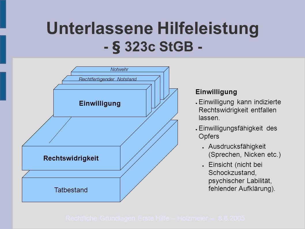 Rechtliche Grundlagen Erste Hilfe – Holzmeier – 8.6.2005 Tatbestand Unterlassene Hilfeleistung - § 323c StGB - Rechtswidrigkeit Notlage Einwilligung ●