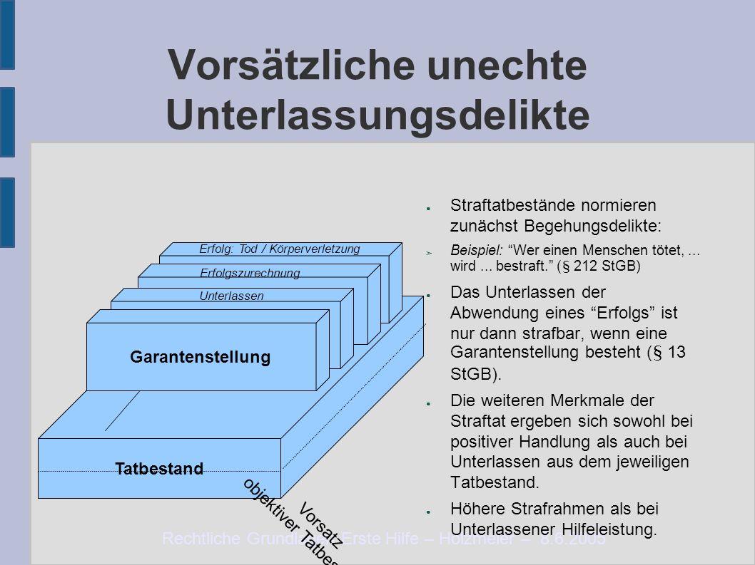 Rechtliche Grundlagen Erste Hilfe – Holzmeier – 8.6.2005 Vorsätzliche unechte Unterlassungsdelikte ● Straftatbestände normieren zunächst Begehungsdeli