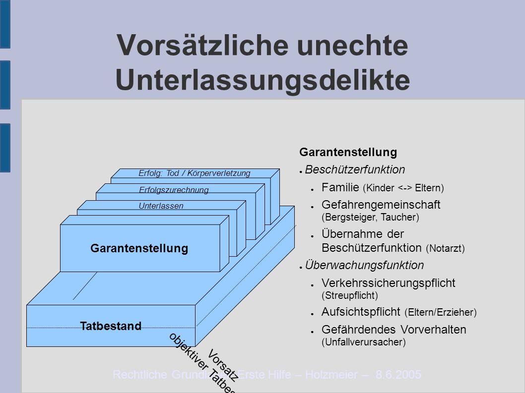 Rechtliche Grundlagen Erste Hilfe – Holzmeier – 8.6.2005 Vorsätzliche unechte Unterlassungsdelikte Tatbestand Notlage Erforderlichkeit Zumutbarkeit Er
