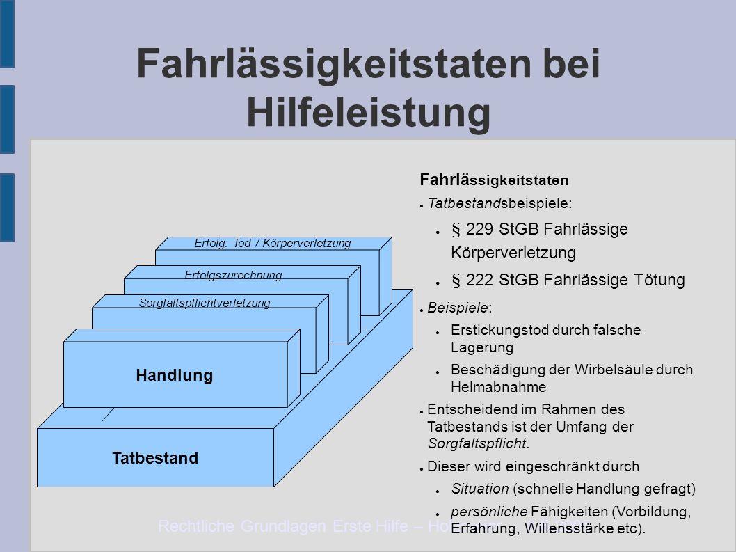 Rechtliche Grundlagen Erste Hilfe – Holzmeier – 8.6.2005 Fahrlässigkeitstaten bei Hilfeleistung Tatbestand Notlage Erfolgszurechnung Erfolg: Tod / Kör