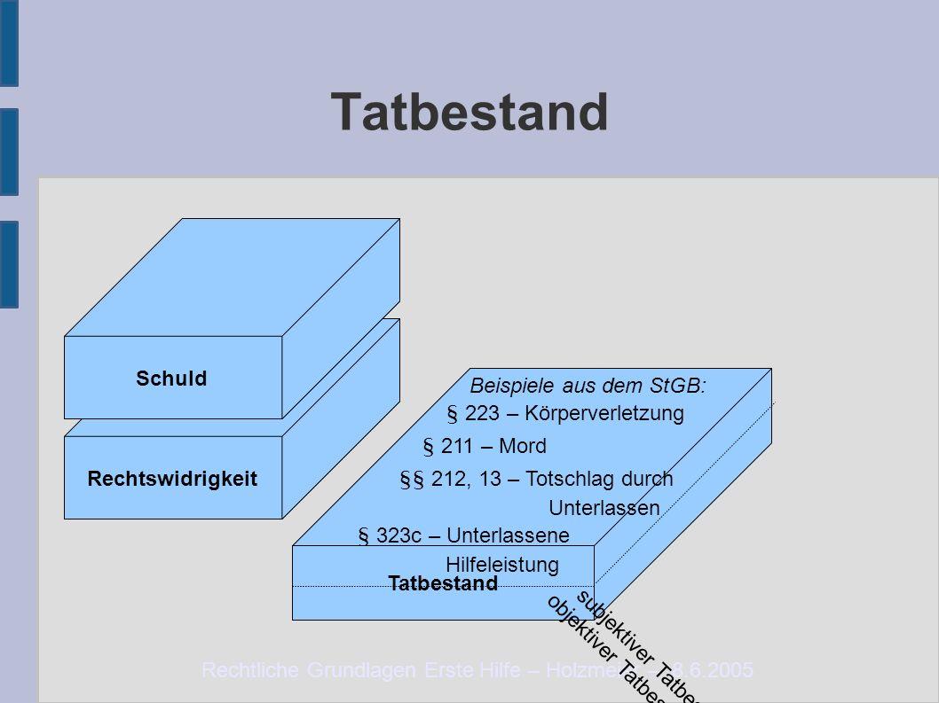 Rechtliche Grundlagen Erste Hilfe – Holzmeier – 8.6.2005 Tatbestand Rechtswidrigkeit Schuld Beispiele aus dem StGB: § 223 – Körperverletzung § 211 – M