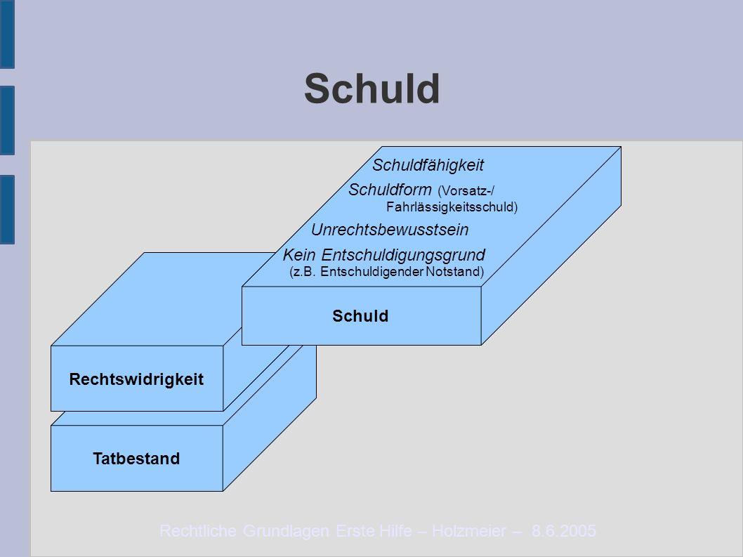 Rechtliche Grundlagen Erste Hilfe – Holzmeier – 8.6.2005 Schuld Tatbestand Rechtswidrigkeit Schuld Schuldfähigkeit Schuldform (Vorsatz-/ Fahrlässigkei